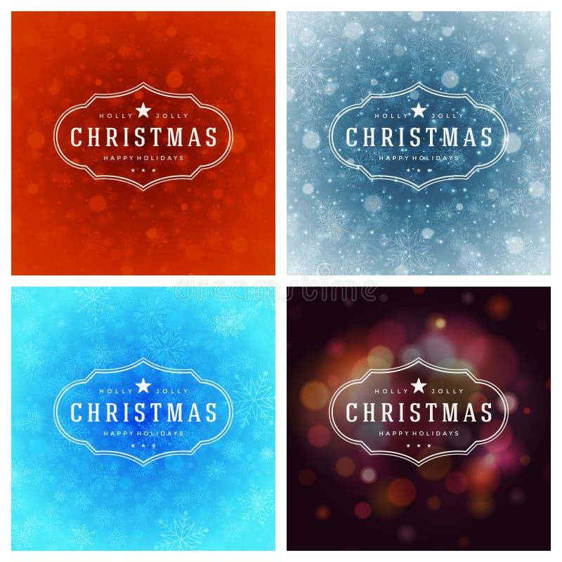 Download Uppsättning För Design För Kort För Jultypografihälsning Vektor Illustrationer - Illustration av festligt, klassiskt: 78727638