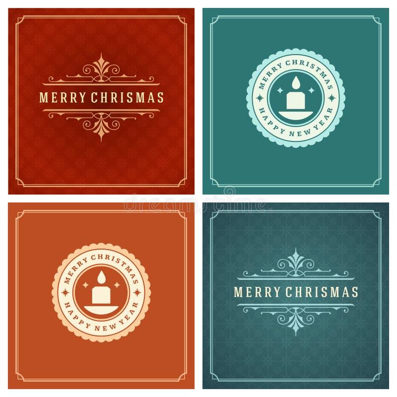 Download Uppsättning För Design För Kort För Jultypografihälsning Vektor Illustrationer - Illustration av lyckönskan, glatt: 78727808