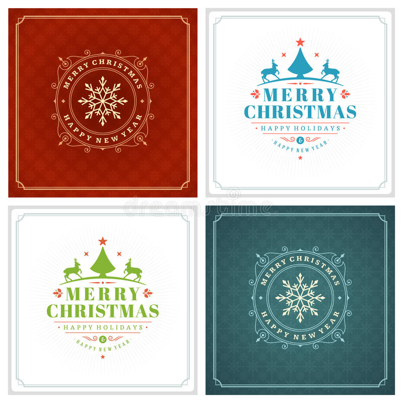 Download Uppsättning För Design För Kort För Jultypografihälsning Vektor Illustrationer - Illustration av meddelande, baner: 78727960