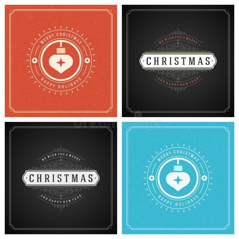 Download Uppsättning För Design För Kort För Jultypografihälsning Vektor Illustrationer - Illustration av prydnad, inbjudan: 78727987