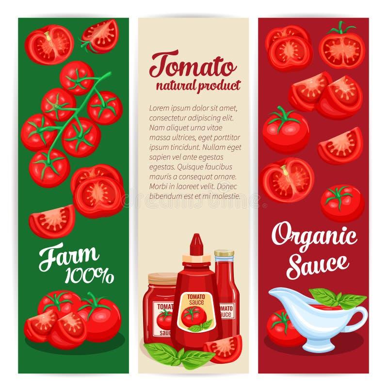 Uppsättning för design för tomatsås av baner vektor illustrationer