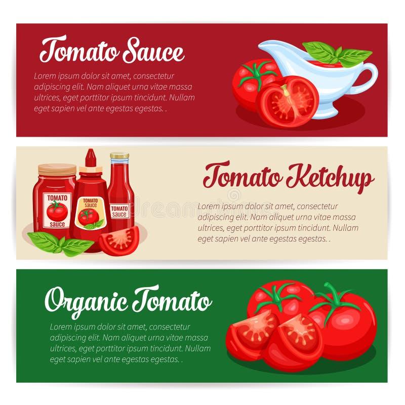 Uppsättning för design för tomatsås av baner royaltyfri illustrationer