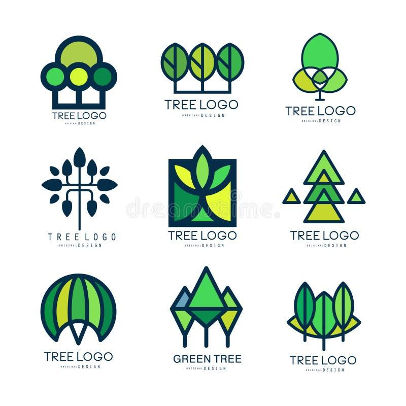 Uppsättning för design för trädlogo original- av vektorillustrationer i gröna färger royaltyfri illustrationer