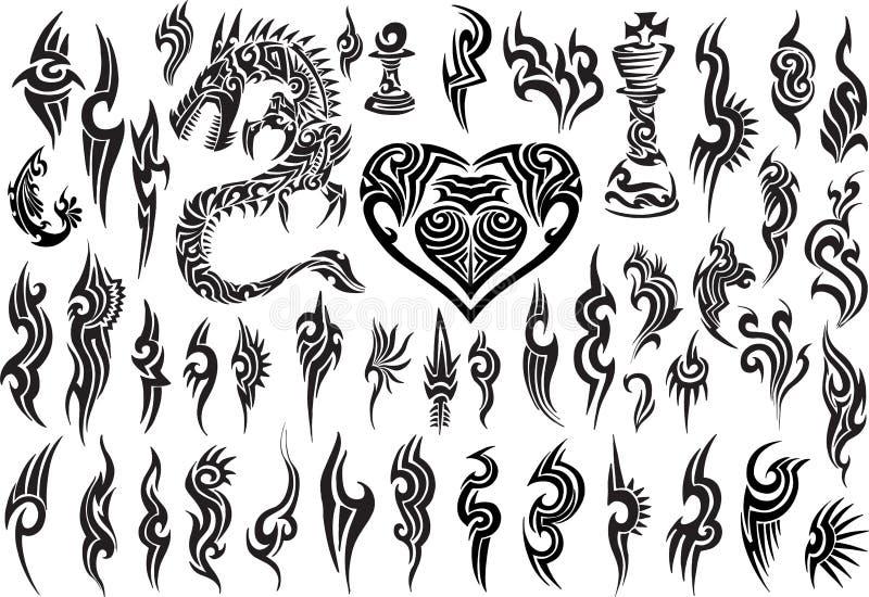 Uppsättning för design för TribTattoo vektorillustration stock illustrationer