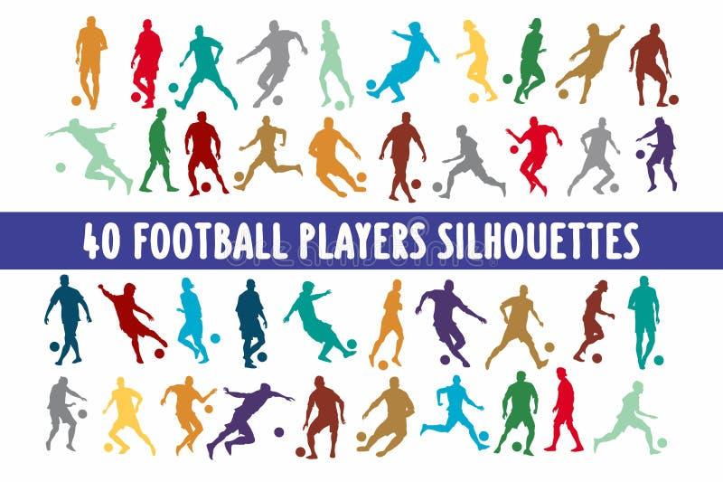 Uppsättning för design för 20 Footbal spelarekonturer olik royaltyfri illustrationer