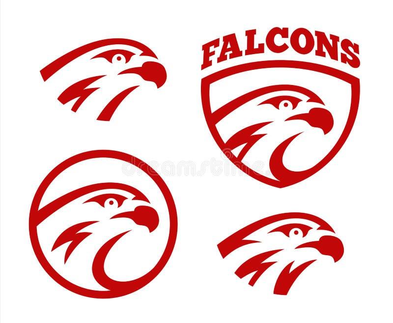 Uppsättning för design för maskot för logo för sport för för vektorfalk eller hök head Amerikanskt löst tecken för symbol för örn vektor illustrationer
