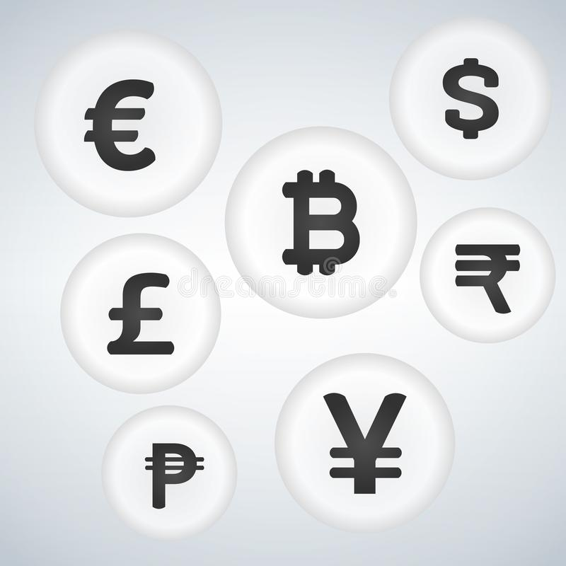 Uppsättning för design för symbol för knapp för bubbla för vektor för världsvalutatecken stock illustrationer