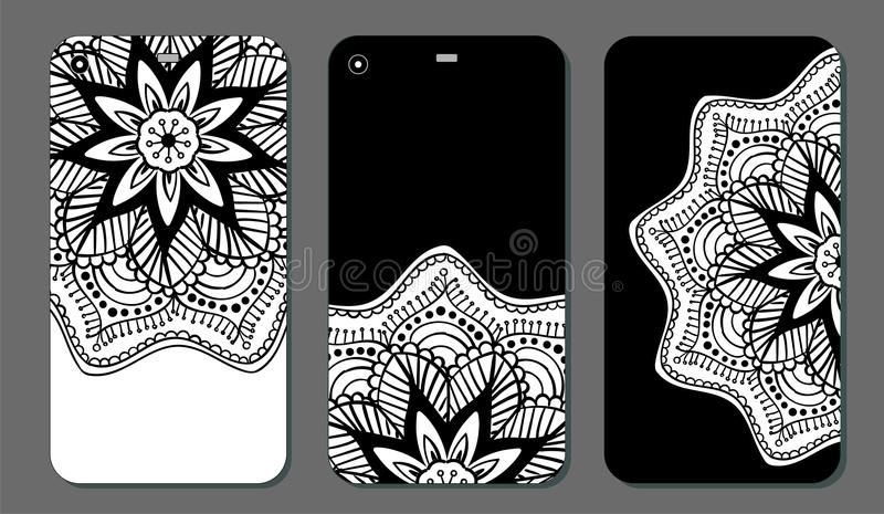 Uppsättning för design för telefonfallmandala dekorativ elementtappning bakgrund tecknad hand Islam arabiska, indier, ottomanmoti vektor illustrationer