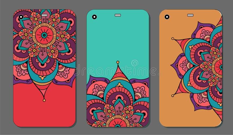 Uppsättning för design för telefonfallmandala dekorativ elementtappning bakgrund tecknad hand Islam arabiska, indier, ottomanmoti royaltyfri illustrationer