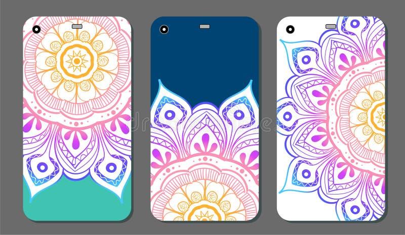Uppsättning för design för telefonfallmandala dekorativ elementtappning bakgrund tecknad hand Islam arabiska, indier, ottomanmoti stock illustrationer