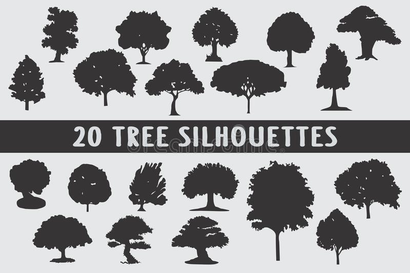 Uppsättning för design för 20 trädkonturer olik royaltyfri illustrationer