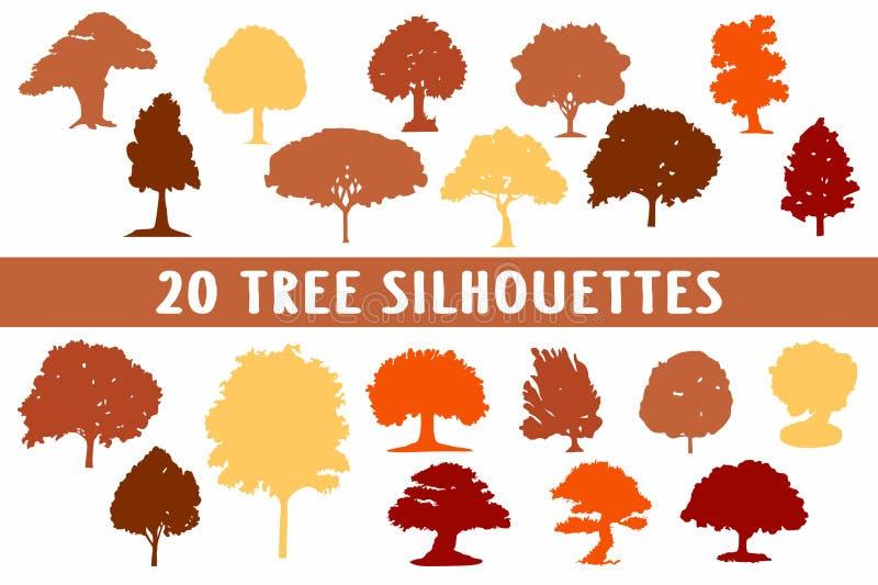 Uppsättning för design för 20 trädkonturer olik stock illustrationer