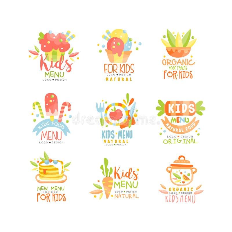 Uppsättning för design för ungemenylogo, sund för mallvektor för organisk mat idérik illustration stock illustrationer
