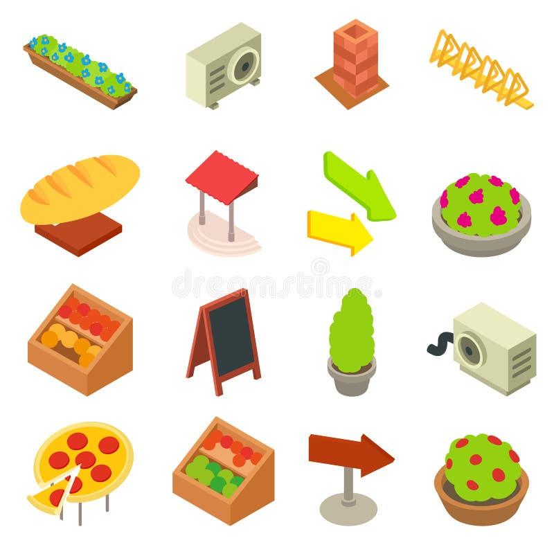 Uppsättning för designbagerisymboler, isometrisk stil vektor illustrationer