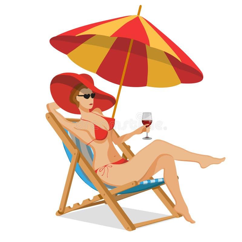 Uppsättning för designen för sommarsemester - schäslong, paraply som skyddar från solen för england för däck för dag för strandbr stock illustrationer