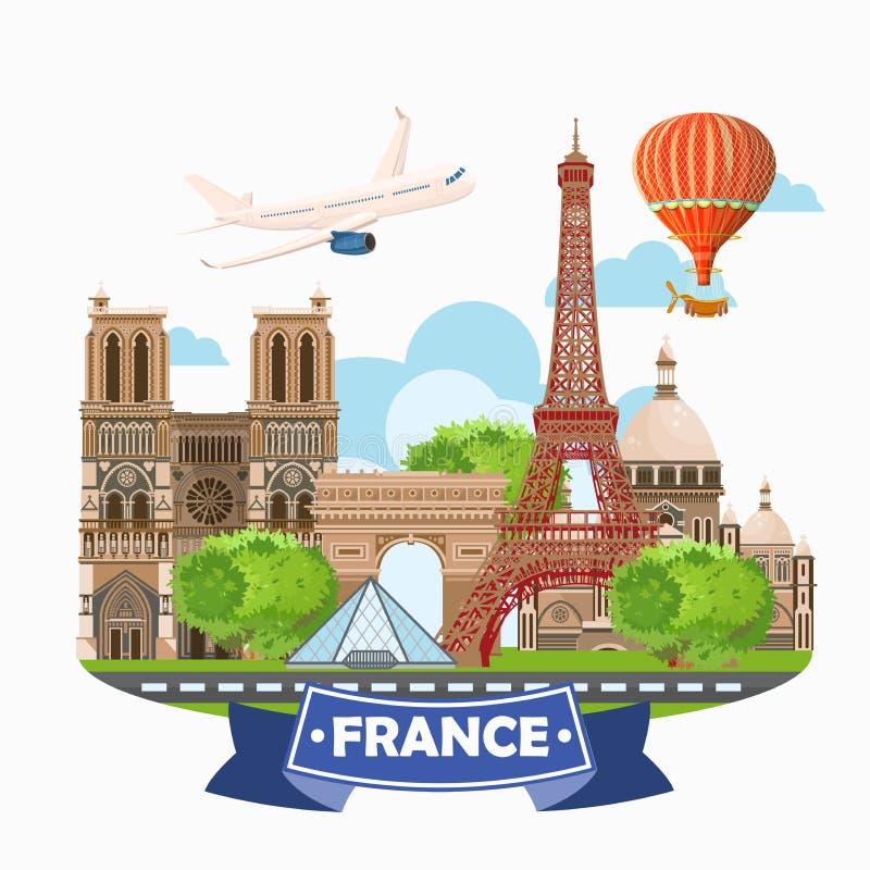 Uppsättning för destinationer för Paris Frankrike vektorlopp royaltyfri illustrationer