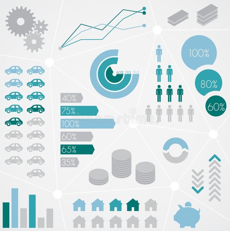 Uppsättning för diagram för statistisk information om finans royaltyfri illustrationer