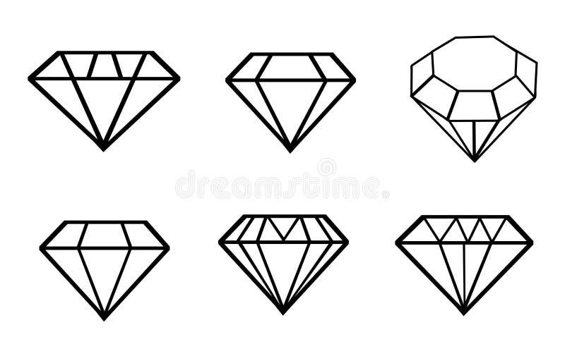 Uppsättning för diamantvektorsymboler royaltyfri illustrationer