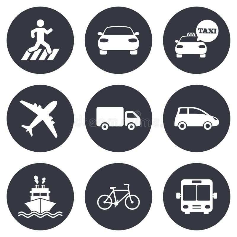 Uppsättning för dig design Bil-, cykel-, buss- och taxitecken stock illustrationer