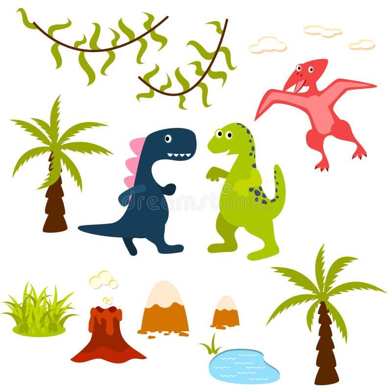 Uppsättning för dinosaurie- och djungelträdclipart stock illustrationer
