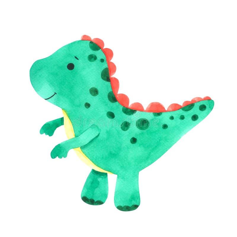 Uppsättning för dinosaurievattenfärgtecknad film Gullig dinosaurie som isoleras på vit bakgrund royaltyfri illustrationer