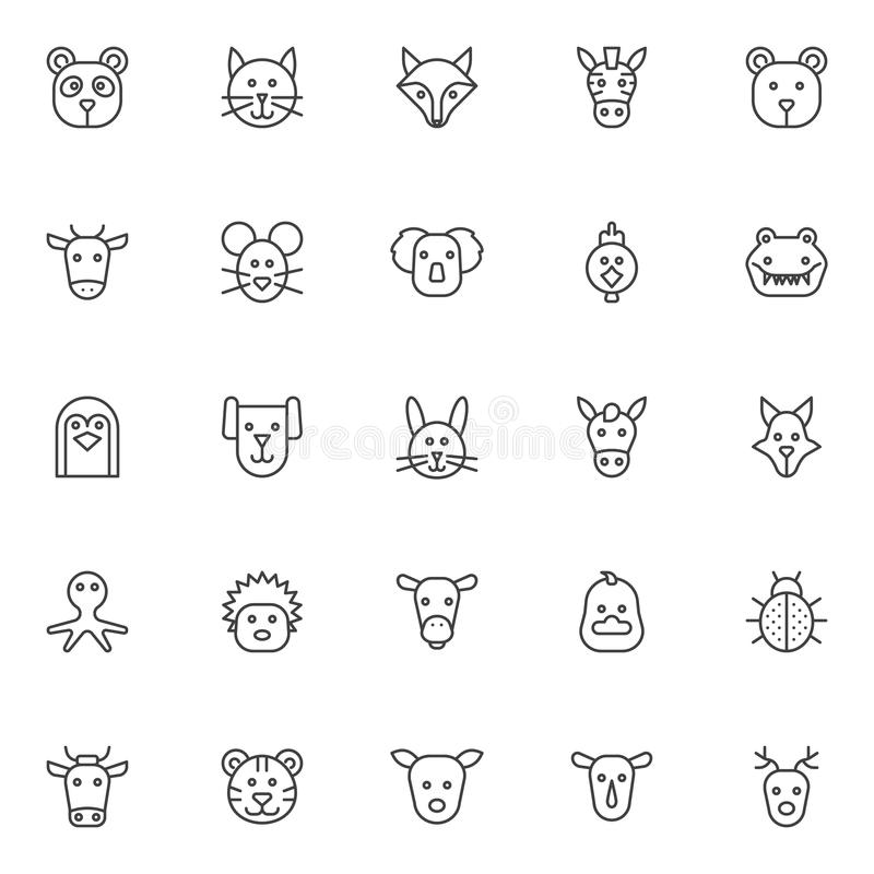 Uppsättning för djuröversiktssymboler vektor illustrationer
