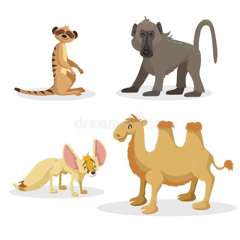 Uppsättning för djur för moderiktig stil för tecknad film afrikansk Babianapa, fennecräv, meerkat och bactrian kamel Stängda ögon vektor illustrationer