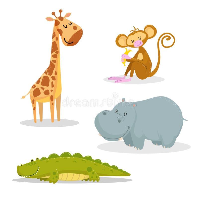Uppsättning för djur för moderiktig stil för tecknad film afrikansk Giraff, sittande apa med bananen, krokodil och flodhäst Stäng vektor illustrationer