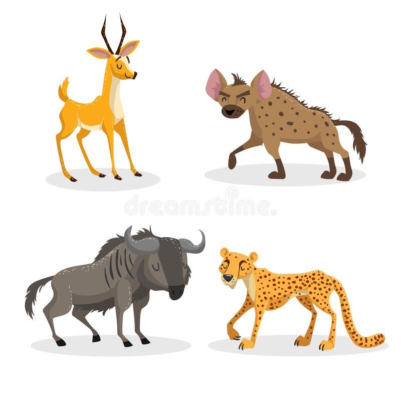 Uppsättning för djur för moderiktig stil för tecknad film afrikansk Hyena-, gnu-, gepard- och antilopgasell Stängda ögon och glad stock illustrationer