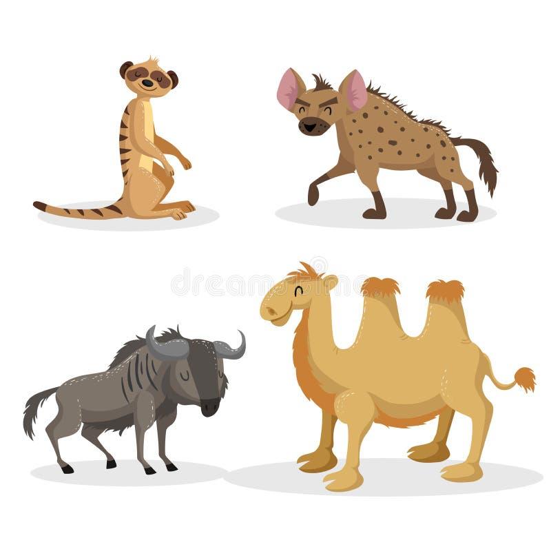 Uppsättning för djur för moderiktig stil för tecknad film afrikansk Hyena, gnu, meerkat och bactrian kamel Stängda ögon och gladl royaltyfri illustrationer