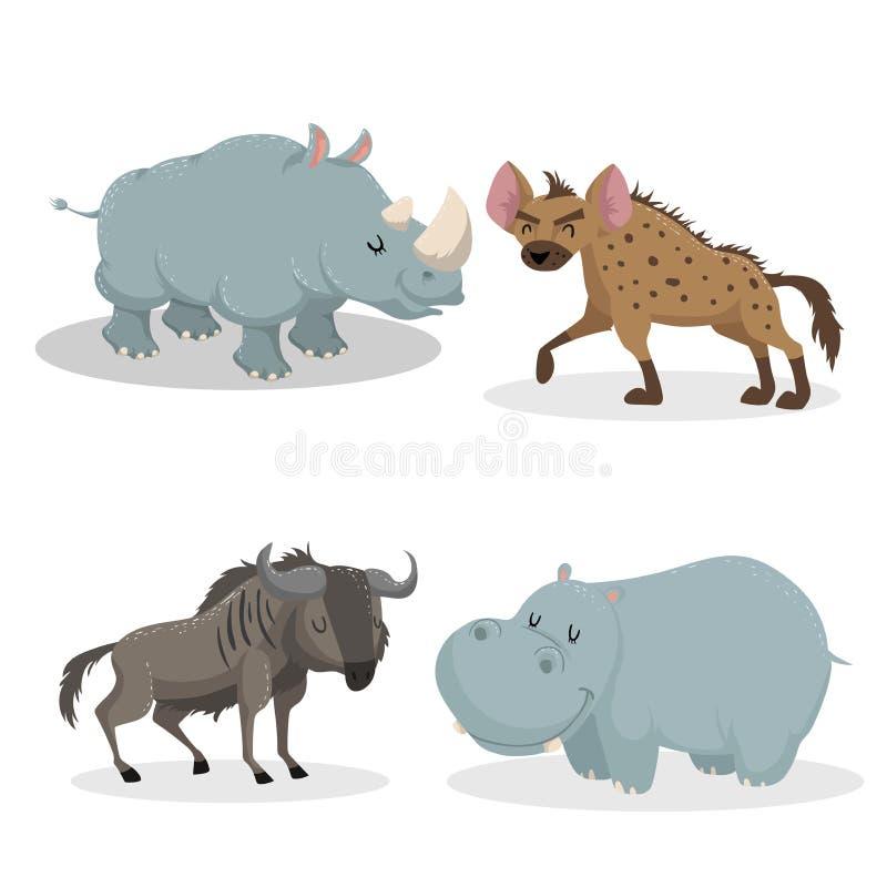Uppsättning för djur för moderiktig stil för tecknad film afrikansk Noshörning hyena, gnuantilop, flodhäst Stängda ögon och gladl vektor illustrationer