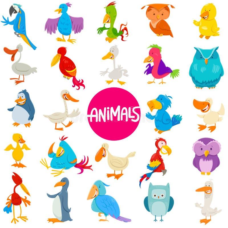 Uppsättning för djura tecken för tecknad filmfåglar stor royaltyfri illustrationer