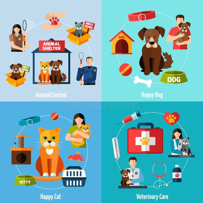 Uppsättning för djurt skydd royaltyfri illustrationer