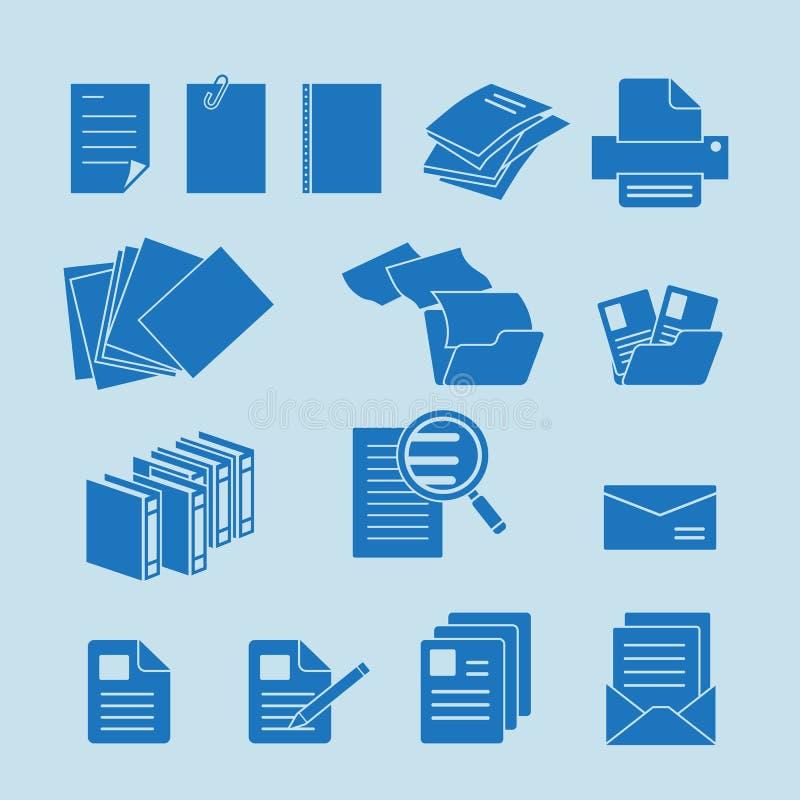 Uppsättning för dokumentsymbol vektor illustrationer