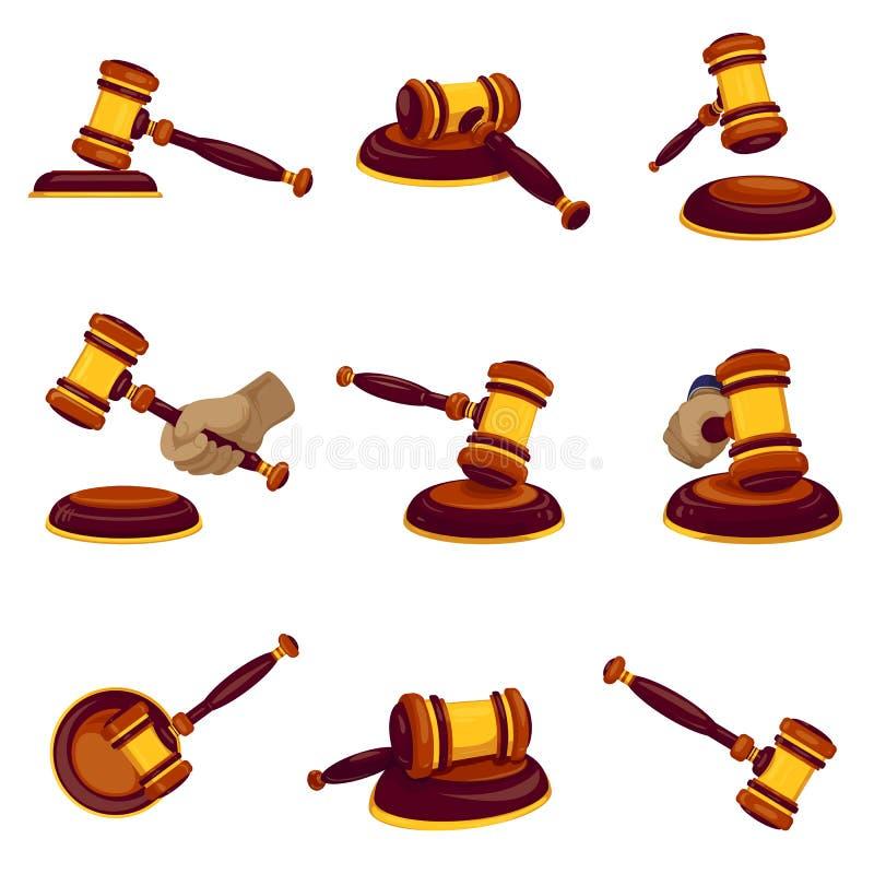 Uppsättning för domarehammaresymbol, tecknad filmstil vektor illustrationer