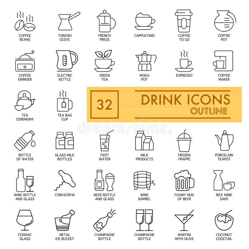 Uppsättning för drinkvektorsymboler Enkla plana illustrationer på vit Kaffe- och alkoholdrinkar Översiktsdesign 10 eps stock illustrationer