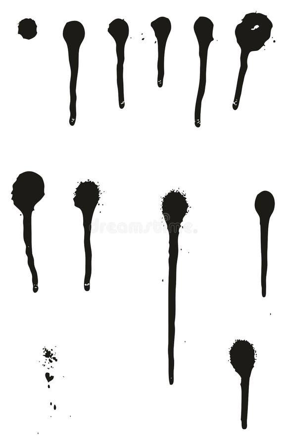 Uppsättning 01 för droppander för vektor för sprutmålningsfärgdetaljabstrakt begrepp royaltyfri illustrationer