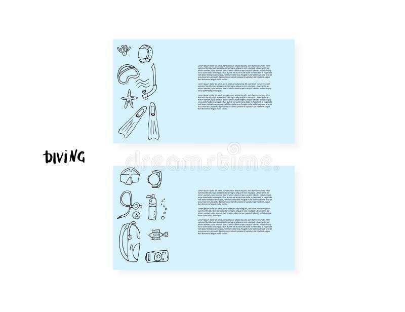 Uppsättning för dykapparatdykning av beståndsdelar och utrustning stock illustrationer