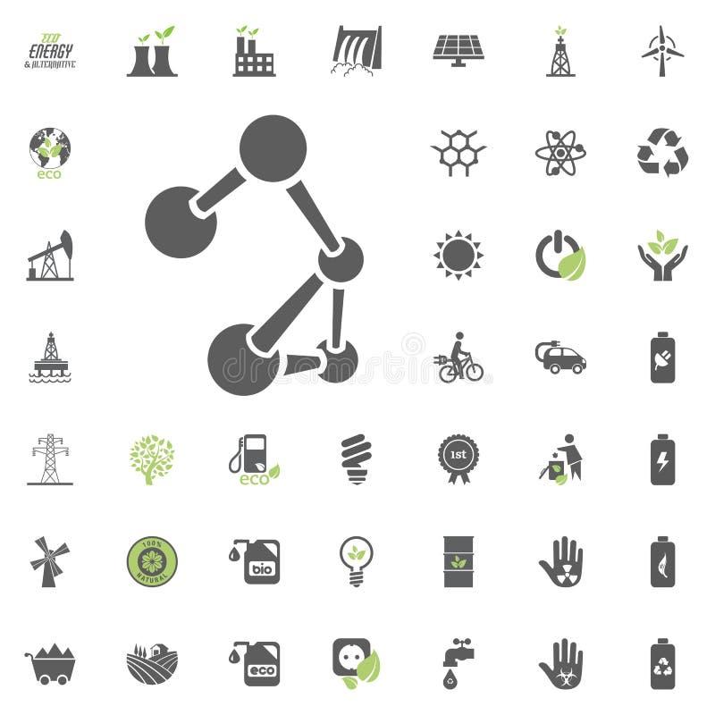 Uppsättning för Eco och för alternativ energi vektorsymbol Vektor för uppsättning för resurs för makt för elektricitet för energi royaltyfri illustrationer