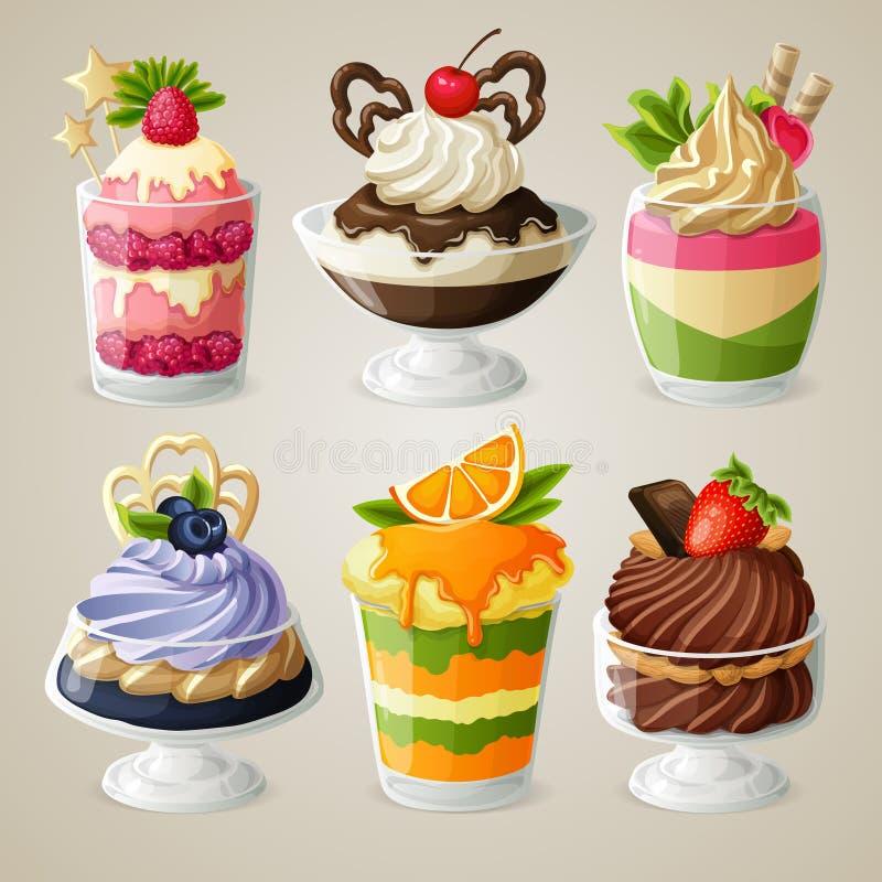 Uppsättning för efterrätt för sötsakglassmousse royaltyfri illustrationer
