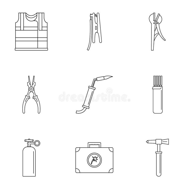 Uppsättning för elektroteknikbranschsymboler, översiktsstil vektor illustrationer