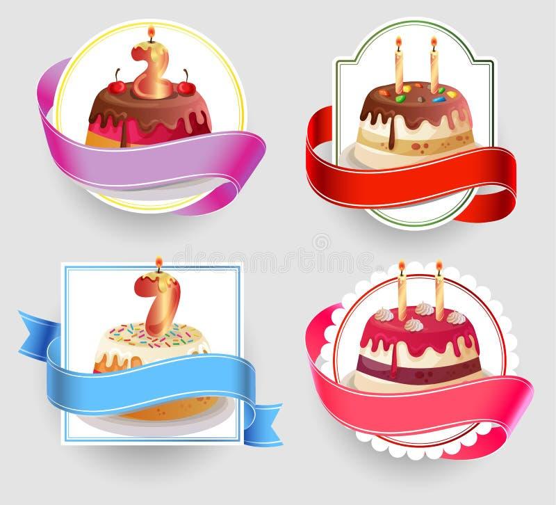 Uppsättning för emblem för födelsedagkakor stock illustrationer