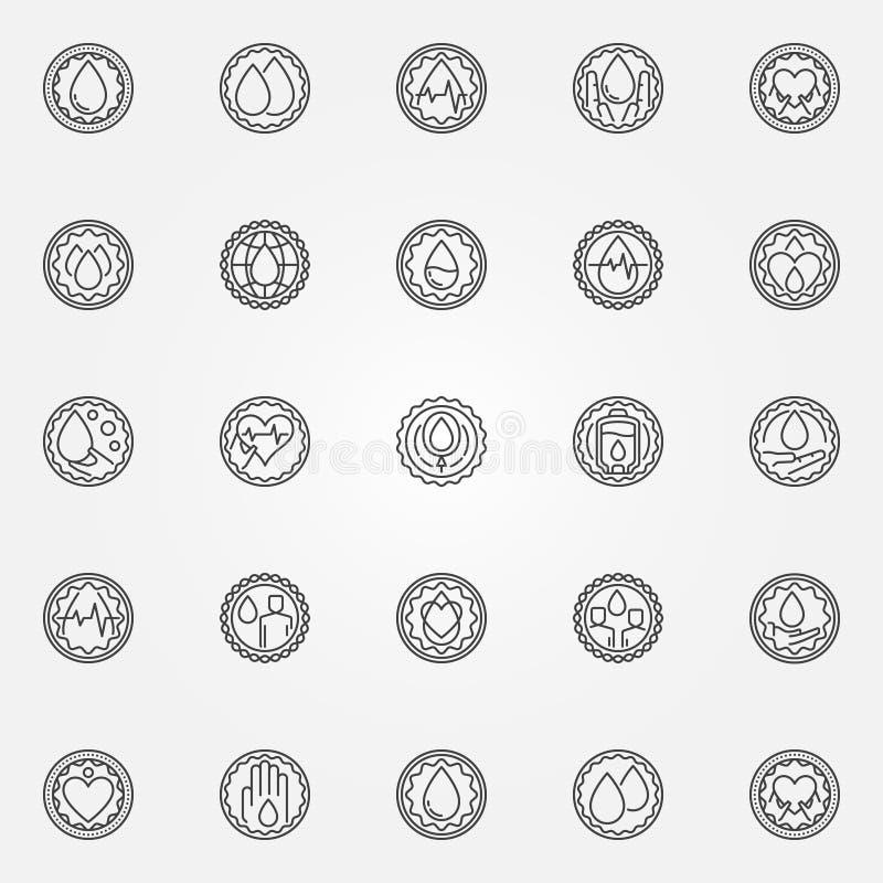 Uppsättning för emblem för bloddonation vektor illustrationer