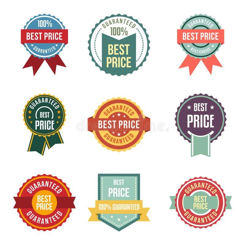 Uppsättning för emblem för klistermärke för skyddsremsa för bästa pris för tappning garanterad vektor illustrationer