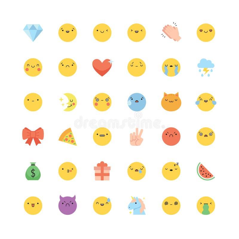 Uppsättning för Emoji symbolsvektor Plan gullig koreansk stil isolerade emoticons stock illustrationer