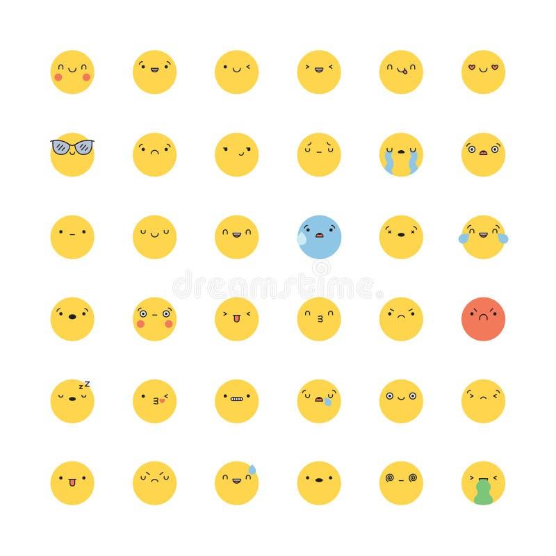Uppsättning för Emoji symbolsvektor Plana koreanska stilemoticons stock illustrationer