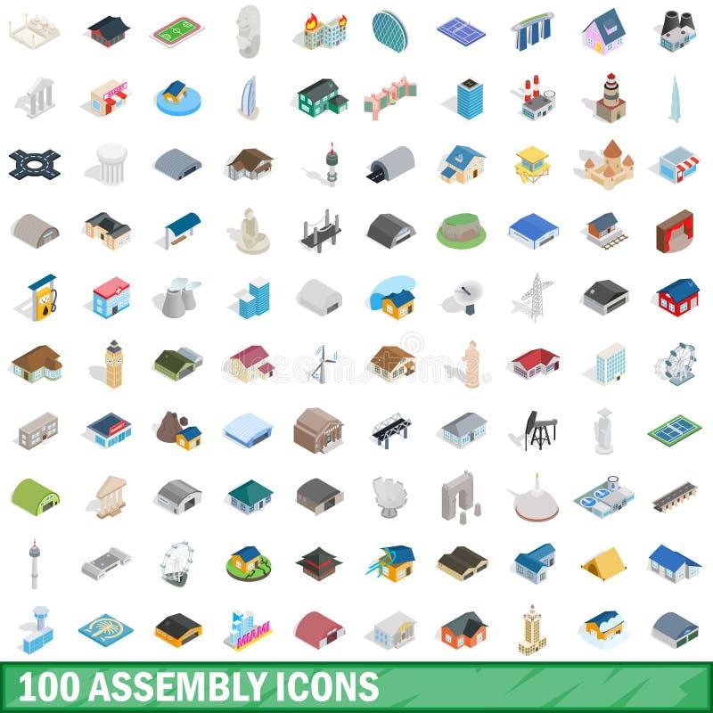 uppsättning för 100 enhetssymboler, isometrisk stil 3d vektor illustrationer