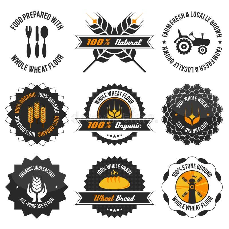 Uppsättning för etikett för mjöl för helt vete royaltyfri illustrationer