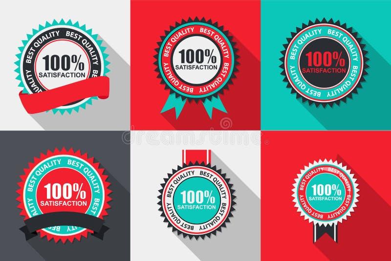 Uppsättning 100% för etikett för vektortillfredsställelse kvalitets- i plan modern design vektor illustrationer