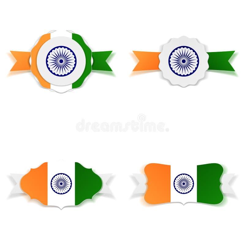Uppsättning för etiketter för Indien självständighetsdagen festlig royaltyfri illustrationer